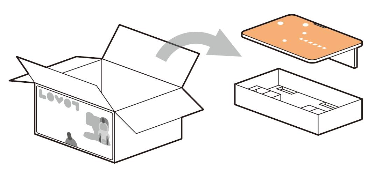 天板と付属品ケースを取り出す